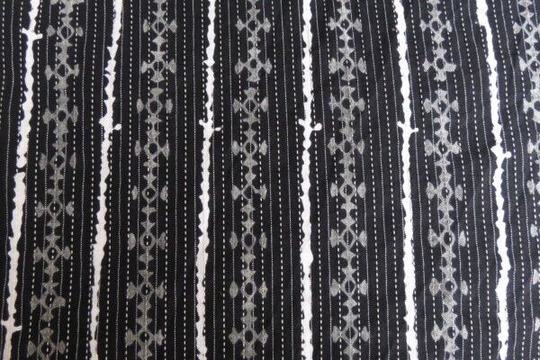 Black White Kantha Striped Block Print Fabric
