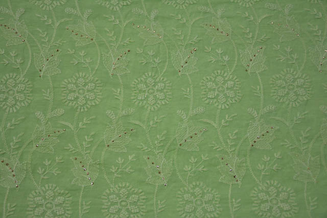 Green Embroidered Gold Work Indian Cotton Fabric