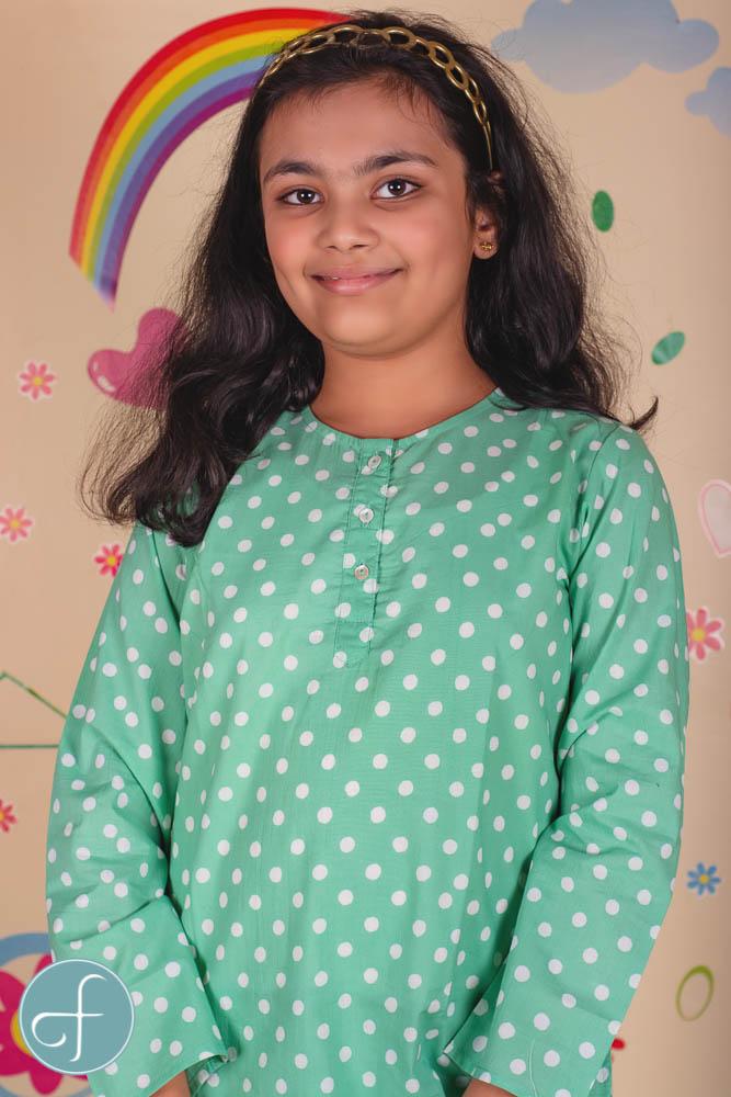 Green Polka Dot Kids Cotton Night Suit