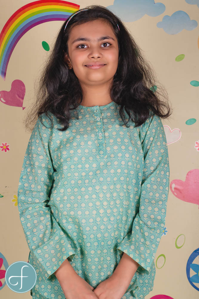 Aqua Green Floral Kids Cotton Night Suit