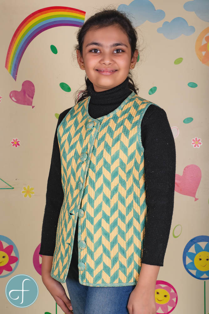 Green Yellow Reversible Quilted Sleeveless Kids Jacket