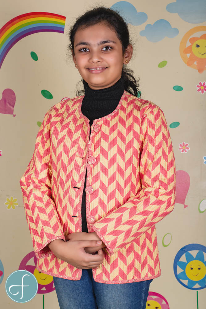 Rosy Pink Reversible Quilted Kids Jacket