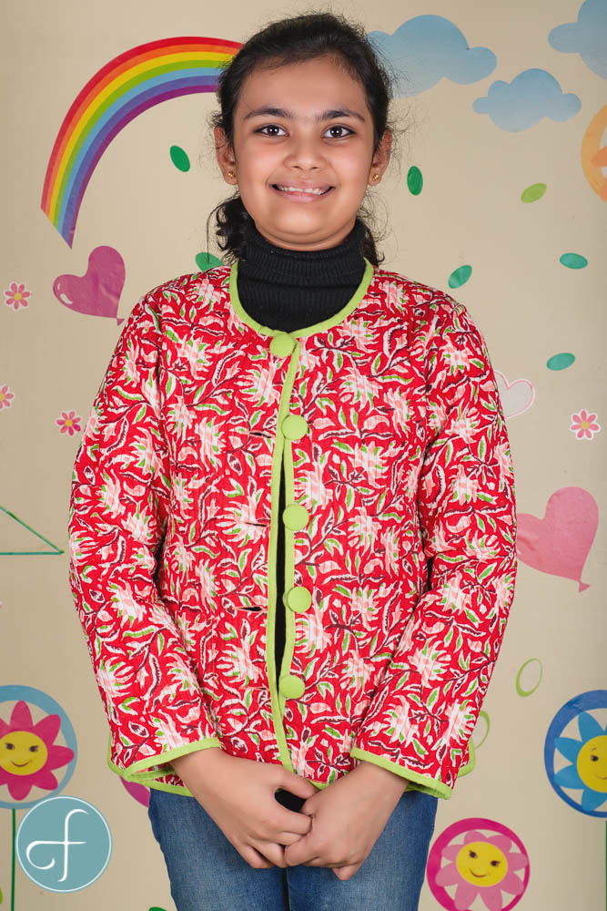 Peach Red Reversible Quilted Kids Jacket