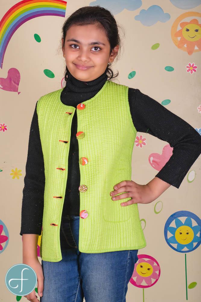 Orange Green Reversible Quilted Sleeveless Kids Jacket