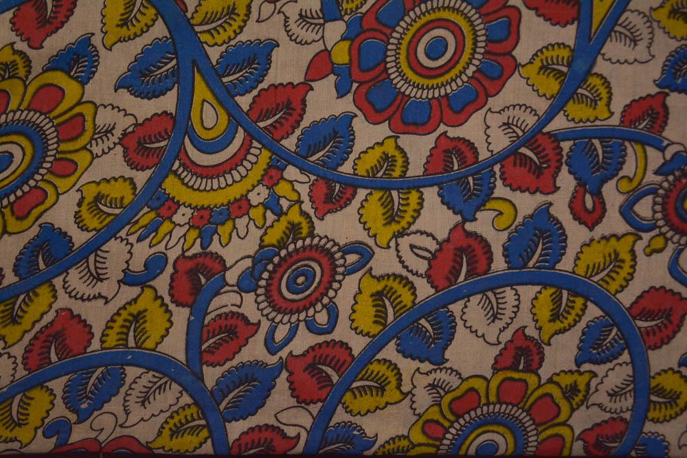 Floral Hand Block Printed Kalamkari Fabric