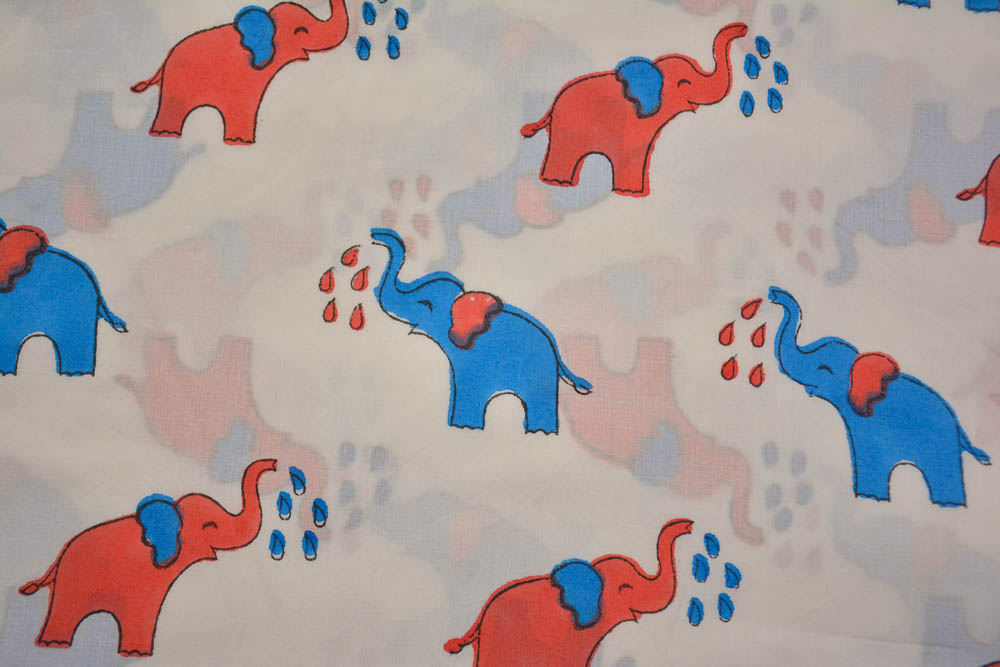 Blue Red Elephant Hand Block Printed Cotton Fabric