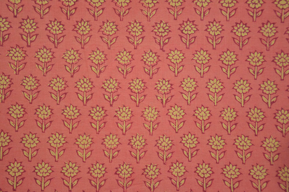 Pink Floral Block Printed Cotton Fabric
