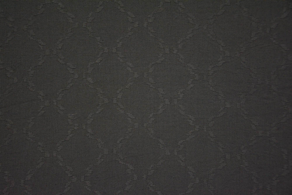 Gunmetal Grey Self Design Cotton Dobby Fabric