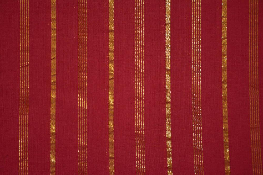 Tango Red Golden Zari Striped Cotton Fabric