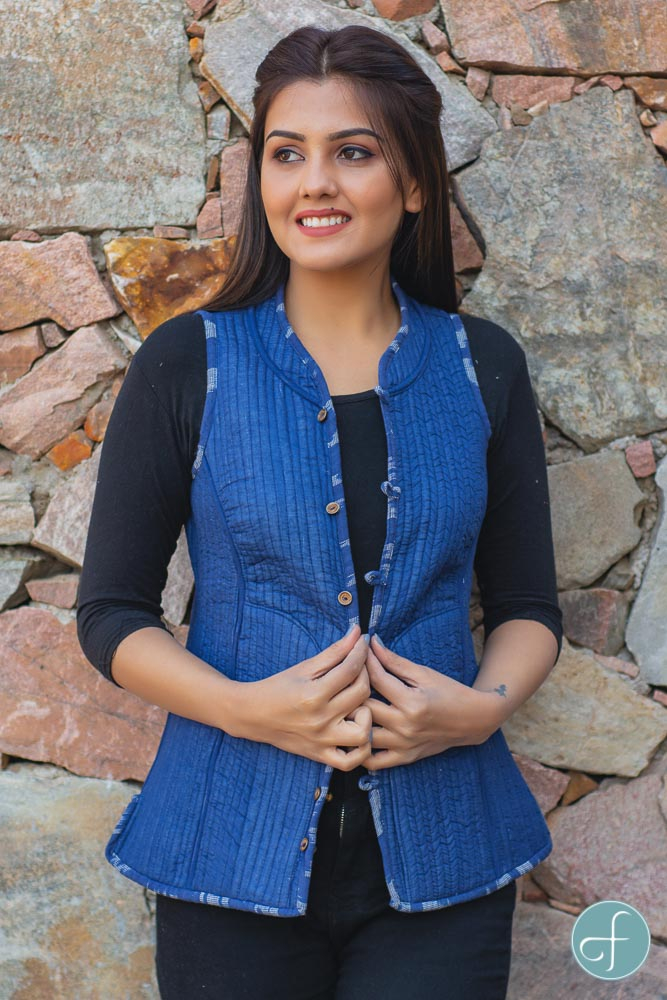 Blue Ikat Reversible Cotton Quilted Sleeveless Jacket