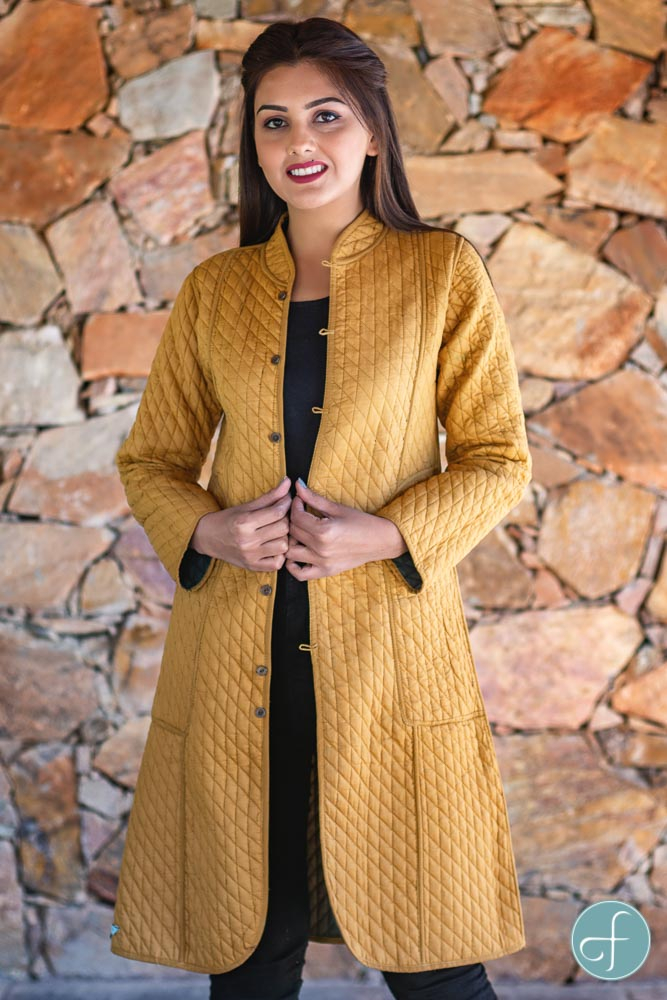 Khakhi Green And Mustard Reversible Cotton Bundi Quilted Coat