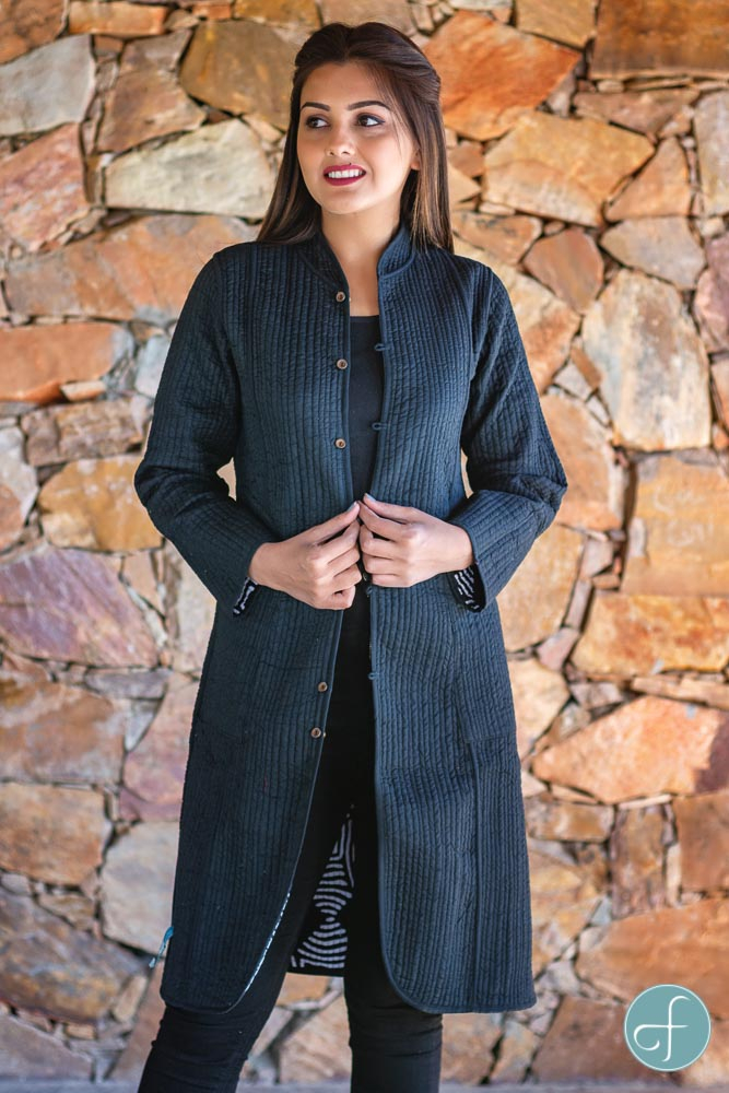 Black And White Block Printed Reversible Cotton Quilted Coat
