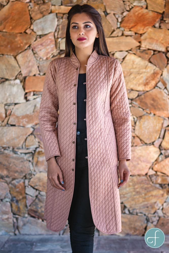 Brown And Peach Reversible Cotton Bundi Quilted Coat