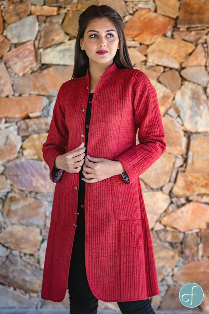 Red Bagh Block Printed Reversible Cotton Quilted Coat