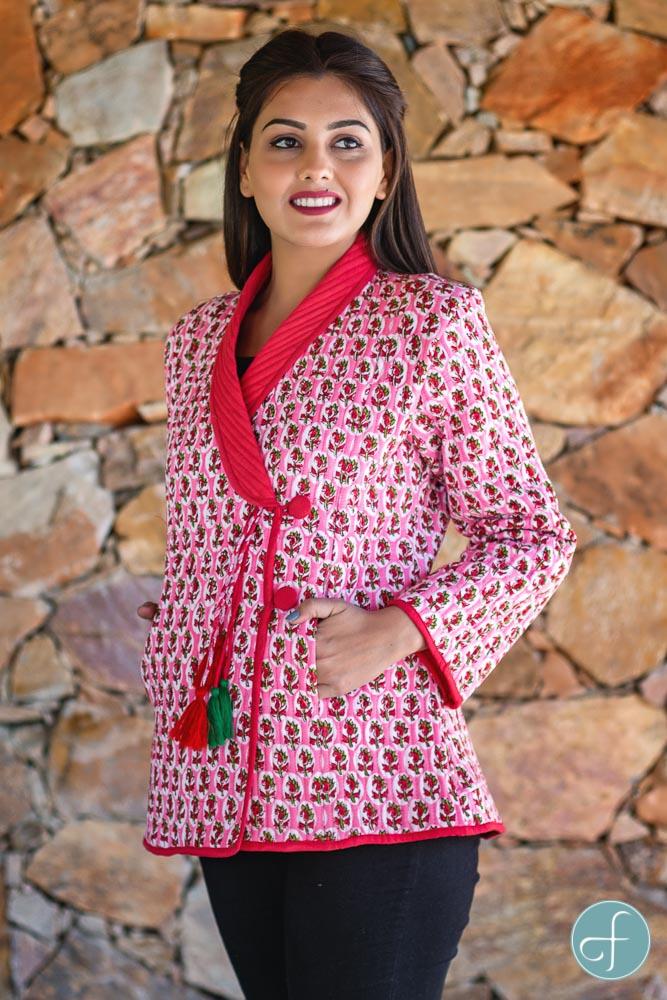 Pink Floral Block Printed Quilted Bukhara Jacket