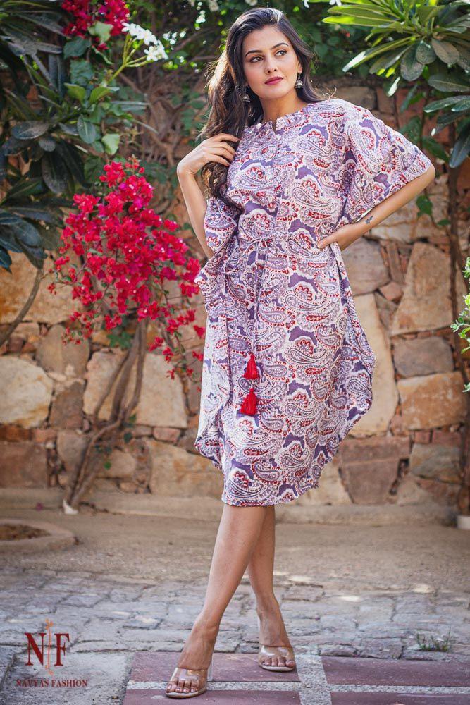 Lavender Paisley Cotton Kaftan Dress