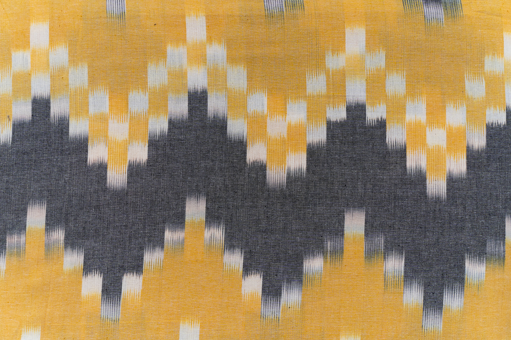 Yellow Grey Ikat Upholstery Cotton Fabric