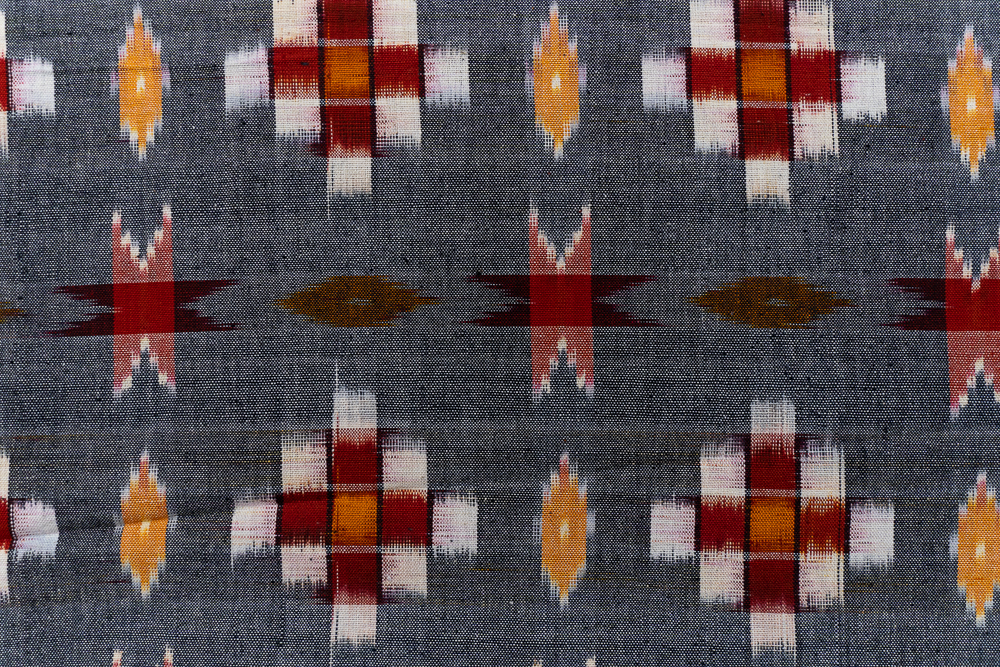 Grey Red Ikat Upholstery Cotton Fabric