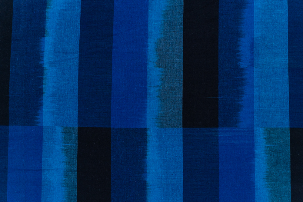 Shades Of Blue Double Ikat Fabric