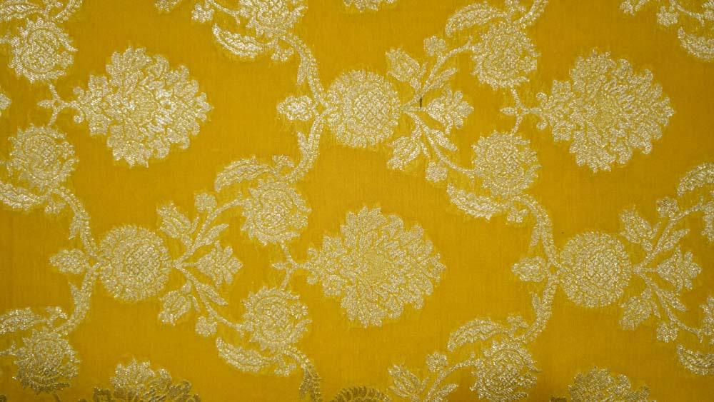 Yellow Zari Soft Banarasi Silk Fabric