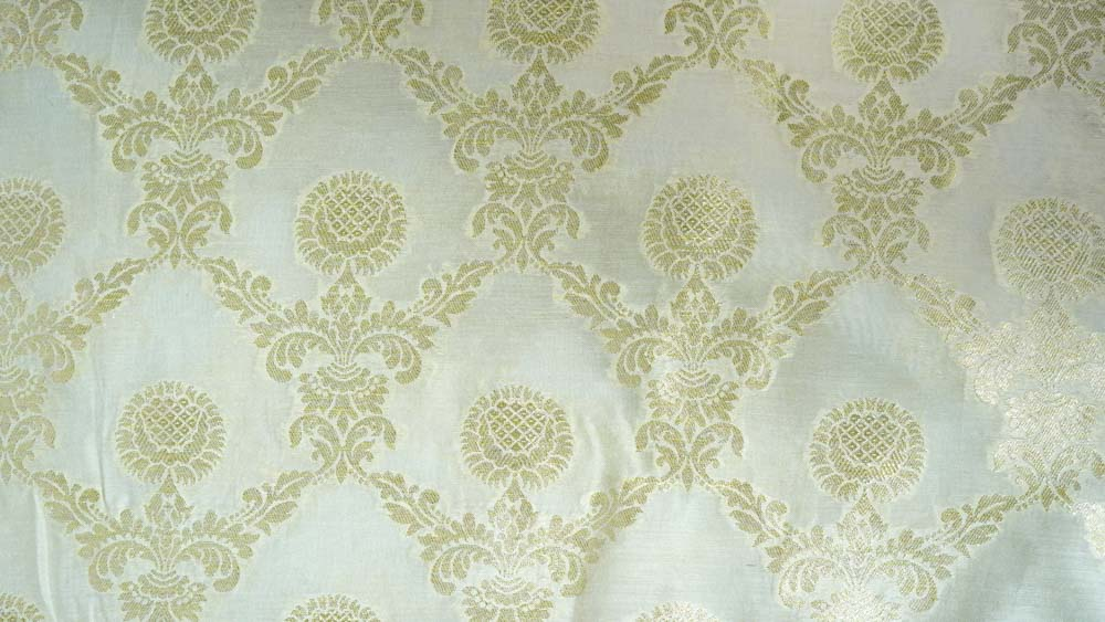 White Zari Soft Banarasi Silk Fabric