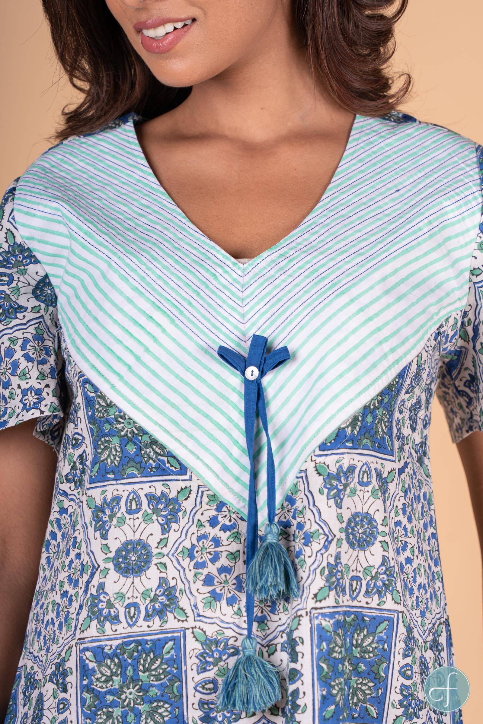 Blue Green Block Print Night Gown