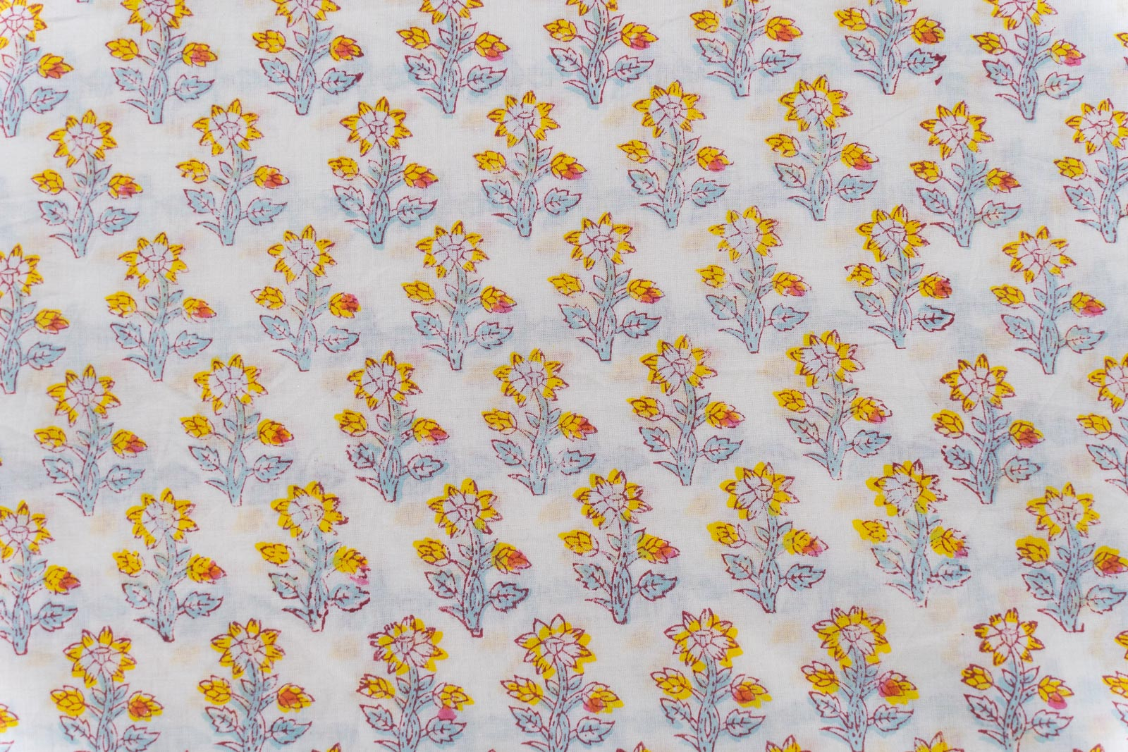 Floral Hand Block Printed Cotton Fabric