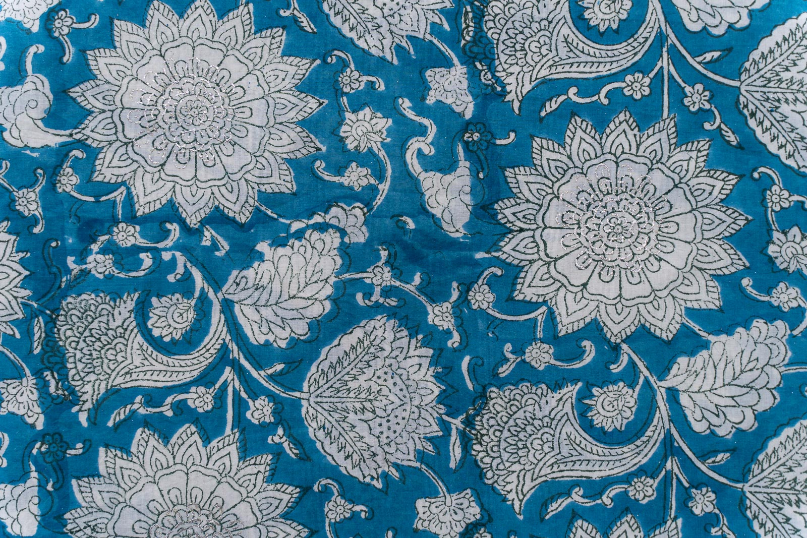 Breeze Blue Floral Hand Block Printed Cotton Fabric