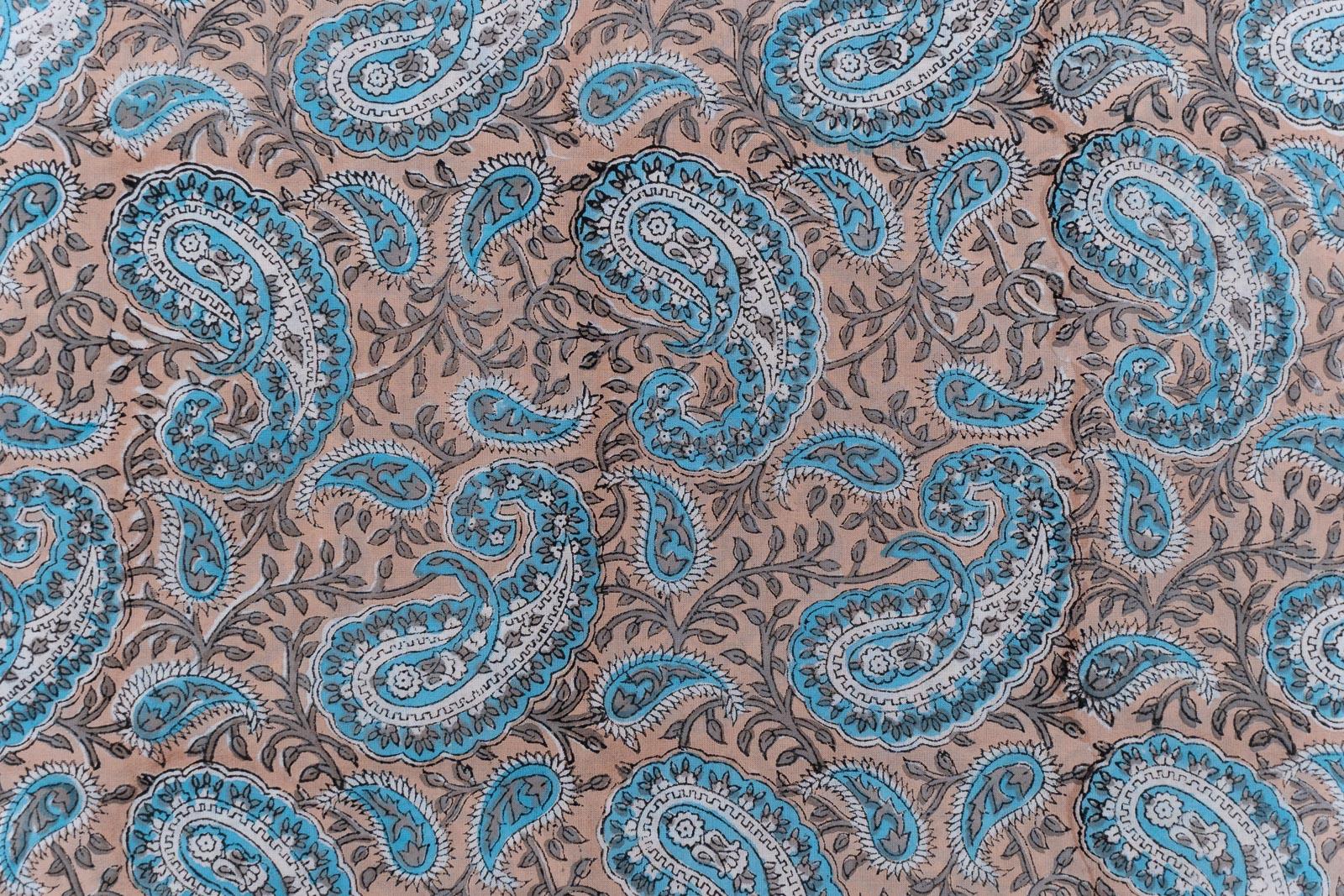 Blue Grey Paisley Hand Block Printed Cotton Fabric