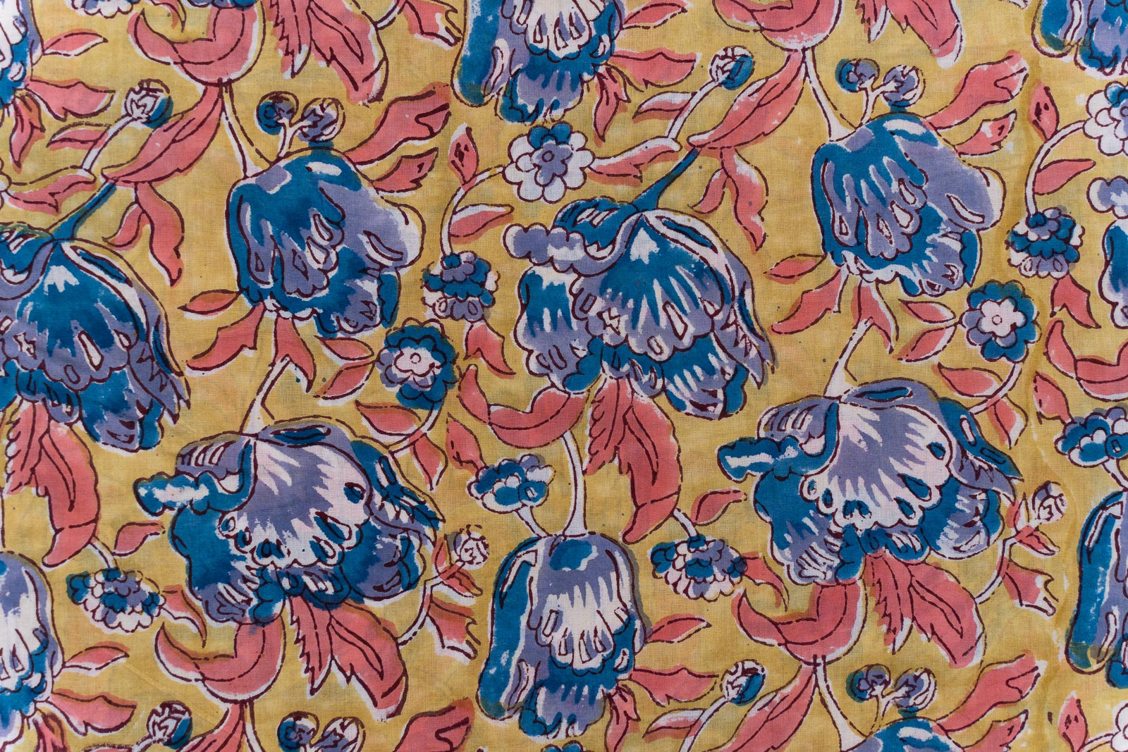 Yellow Gold Floral Hand Block Printed Cotton Fabric