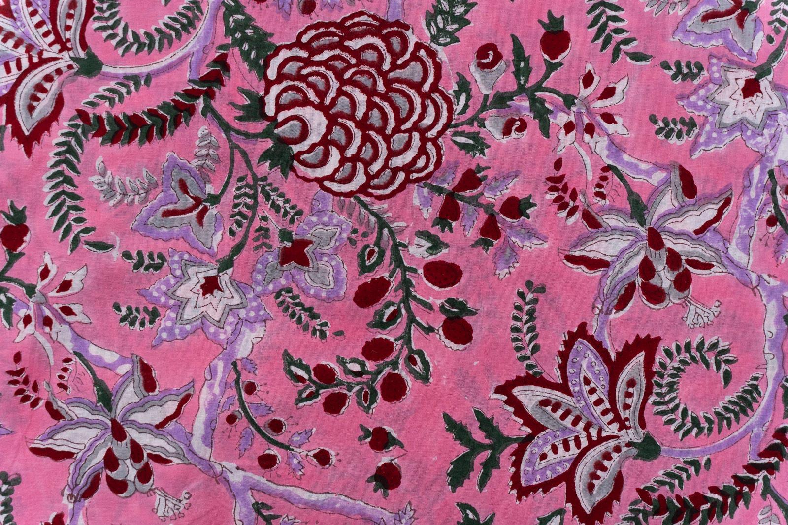 Azalea Pink Floral Hand Block Printed Cotton Fabric