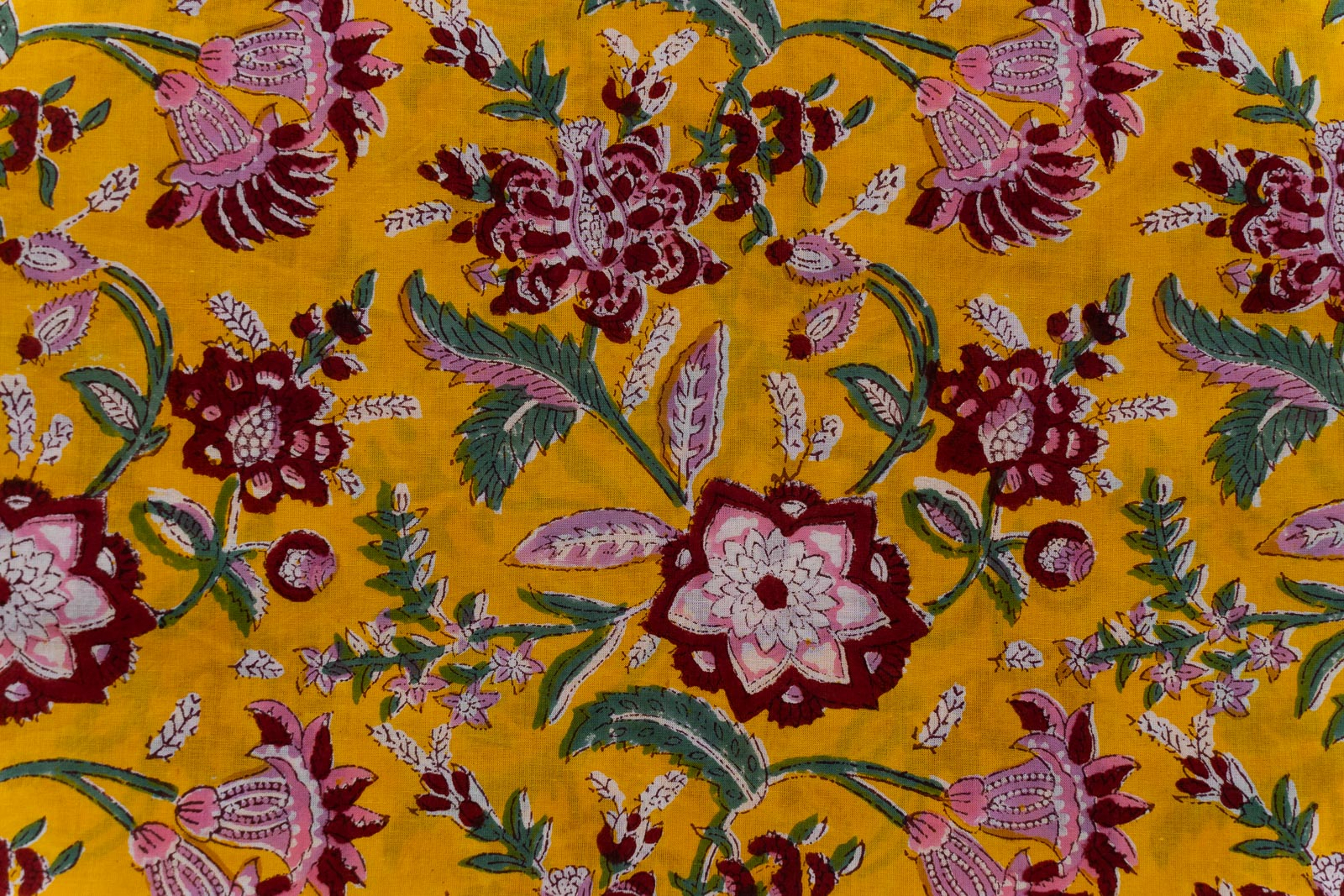 Marigold Yellow Floral Hand Block Printed Cotton Fabric
