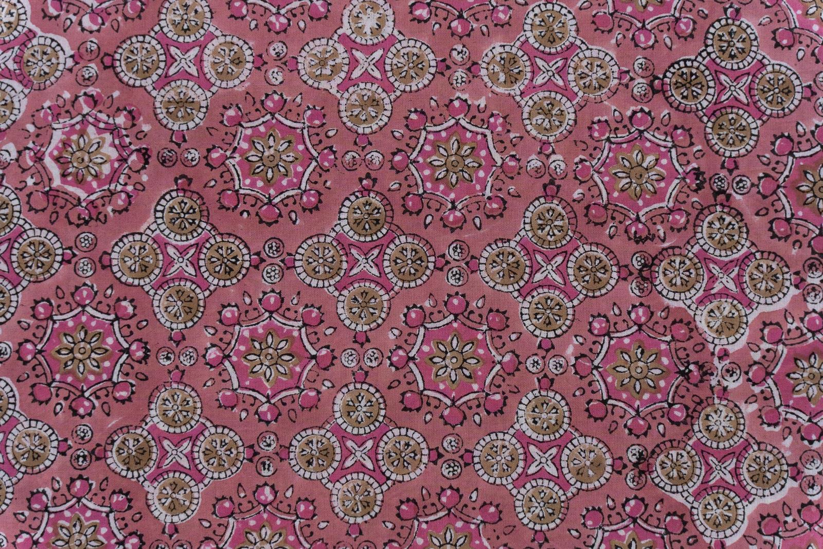 Bubblegum Pink Hand Block Printed Cotton Fabric