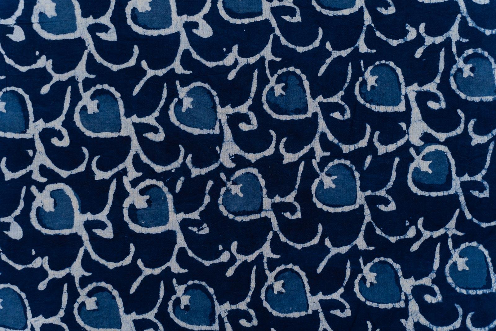 Indigo Leaf Hand Block Printed Fabric