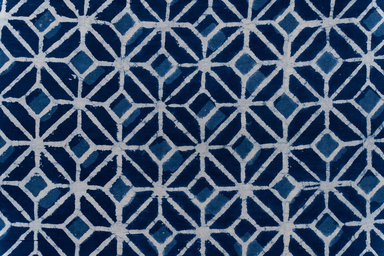 Indigo Diamond Hand Block Printed Fabric