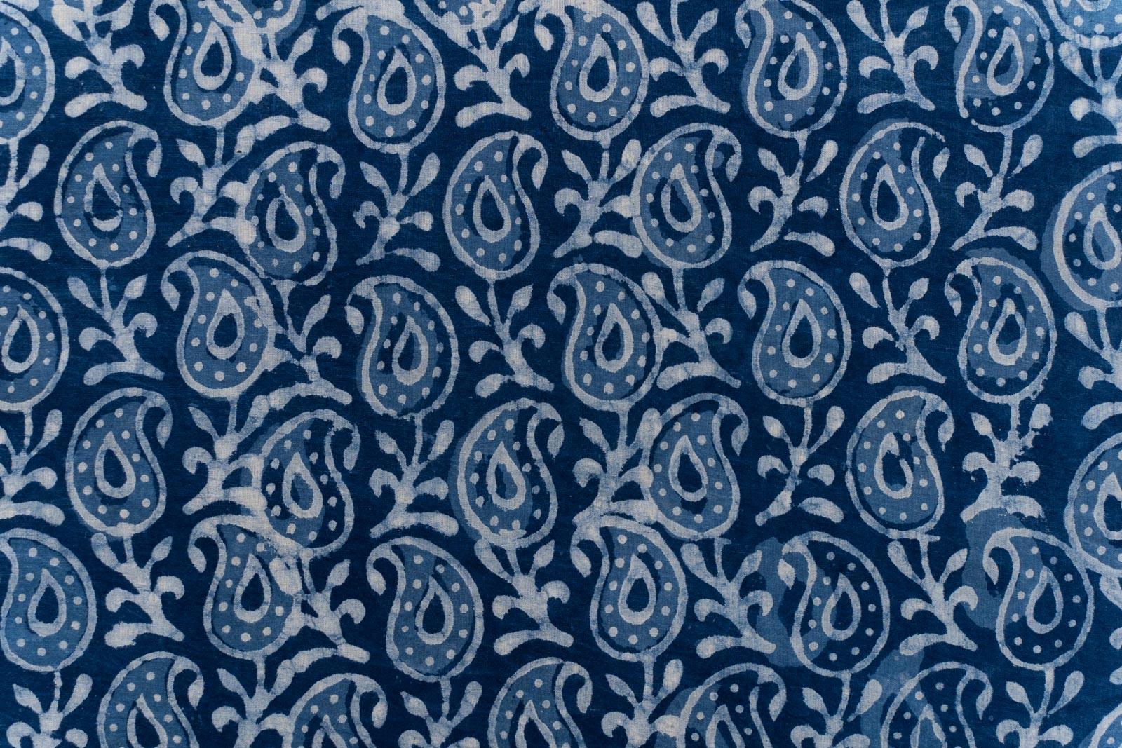 Indigo Paisley Hand Block Printed Fabric