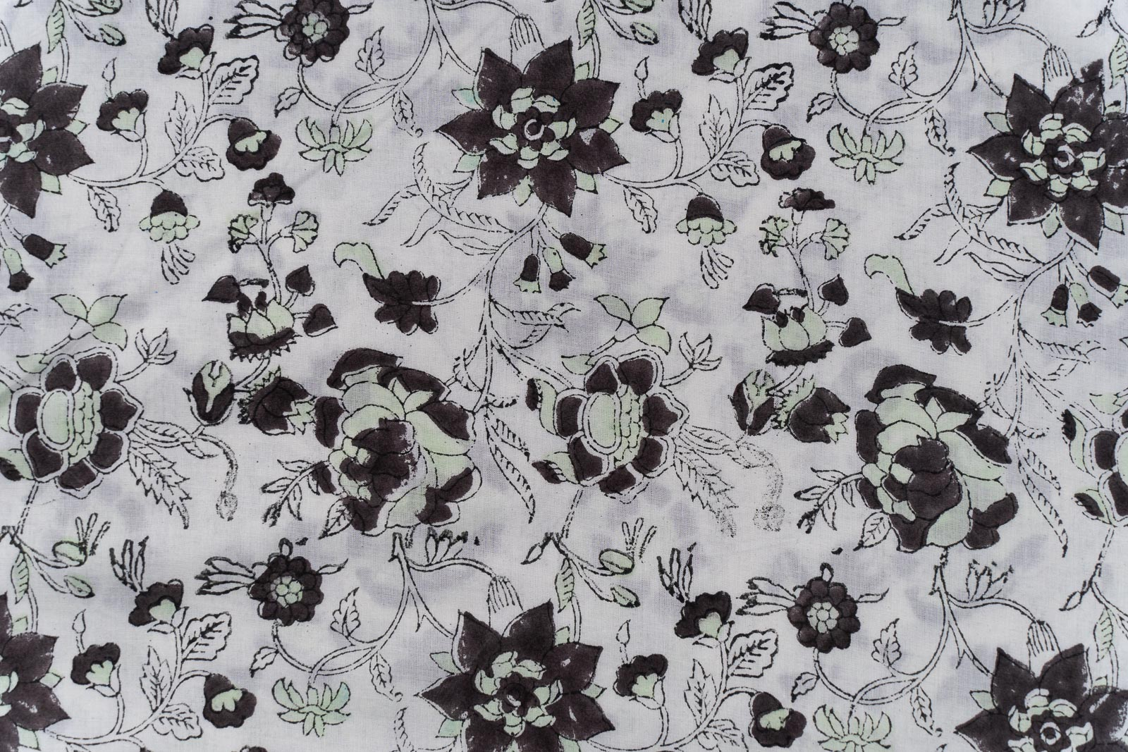 White Floral Block Printed Fabric
