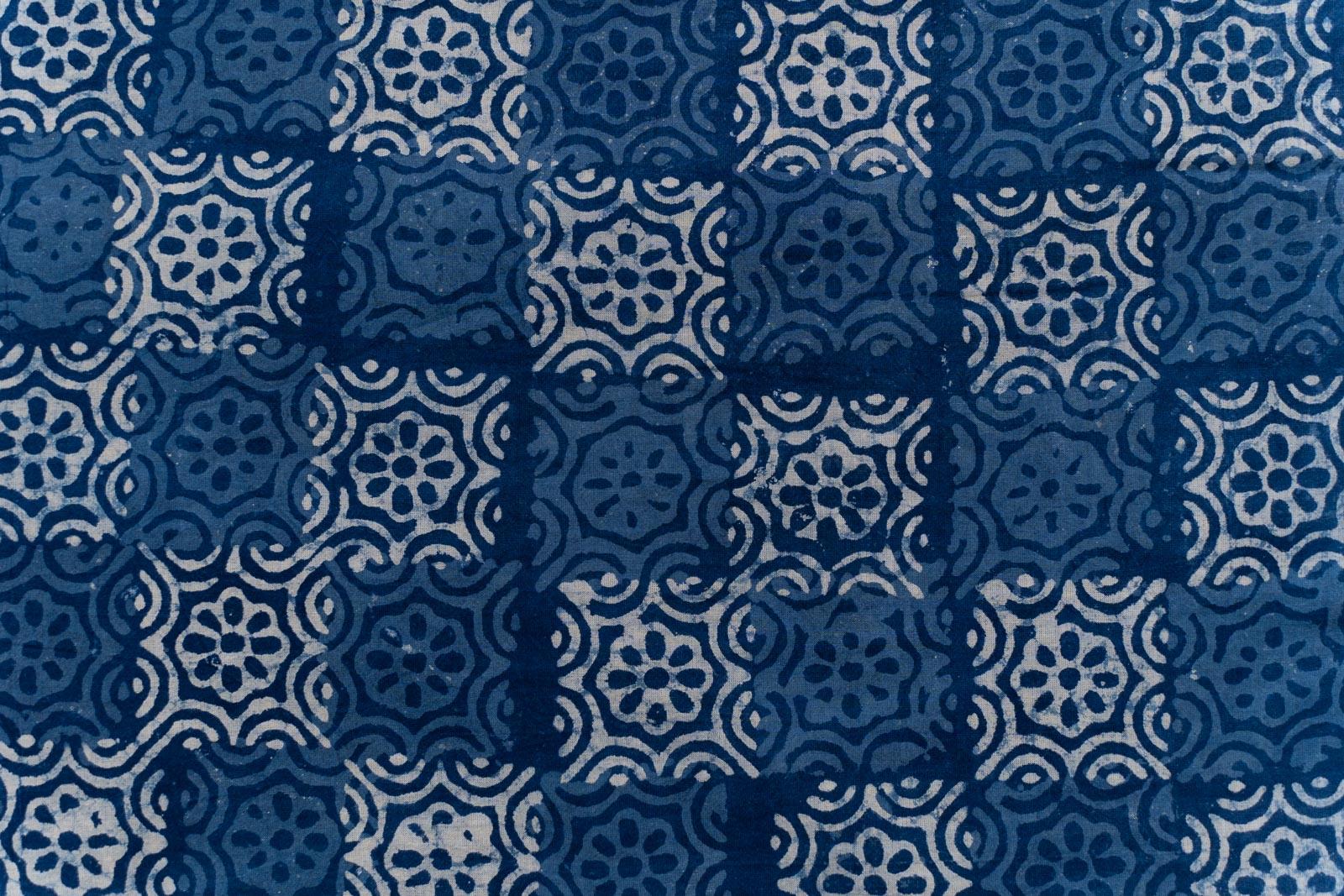 Indigo Square Hand Block Printed Fabric