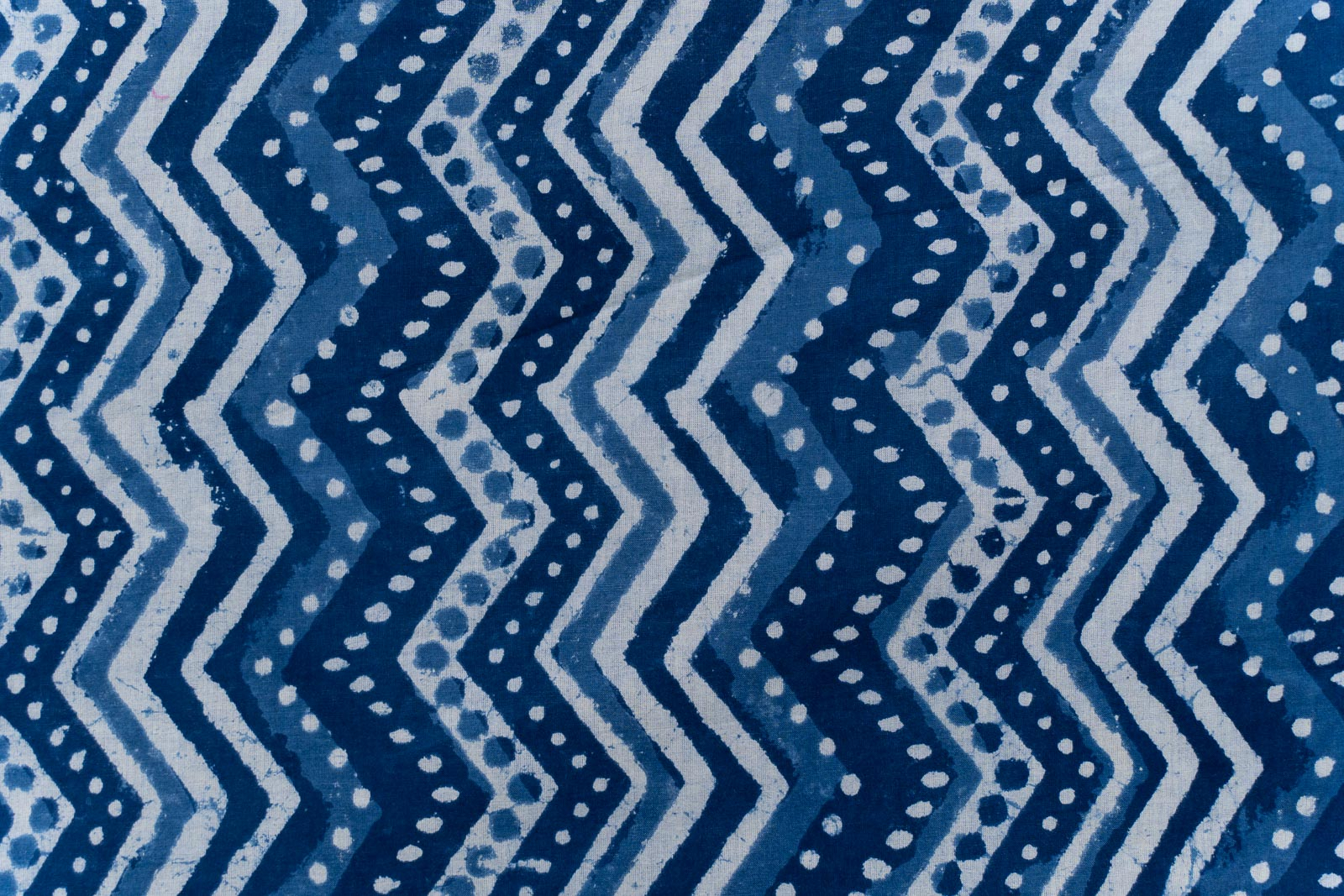 Indigo Chevron Block Printed Fabric