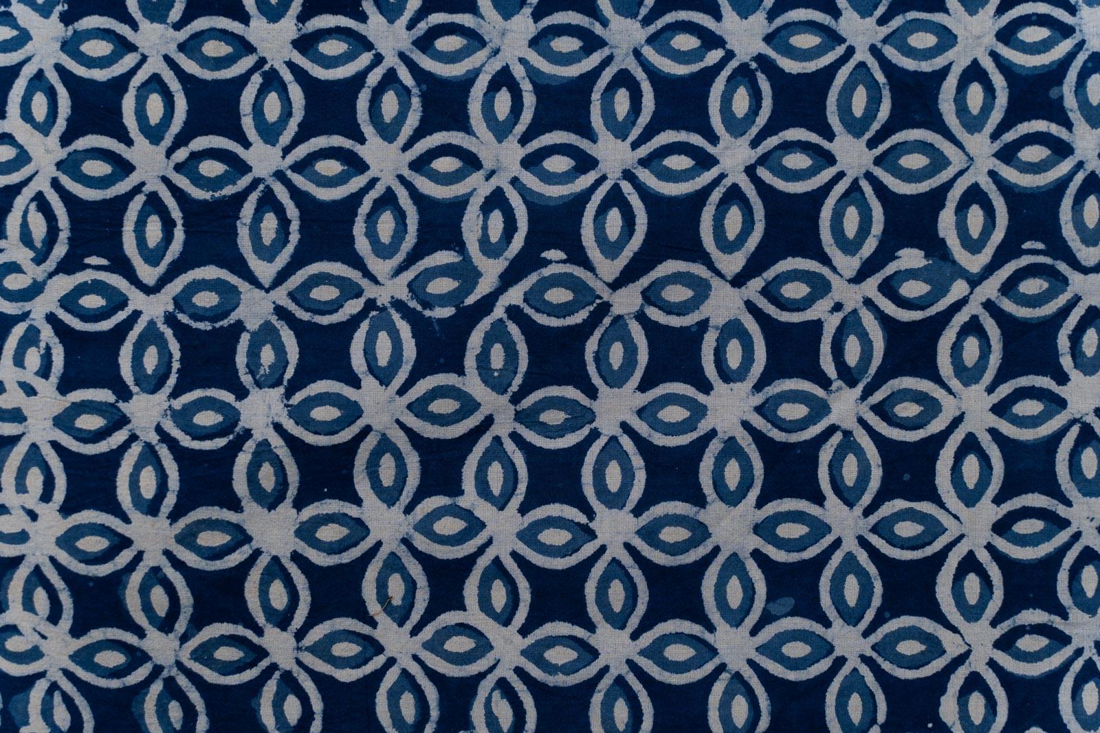 Indigo Designer Hand Block Printed Fabric