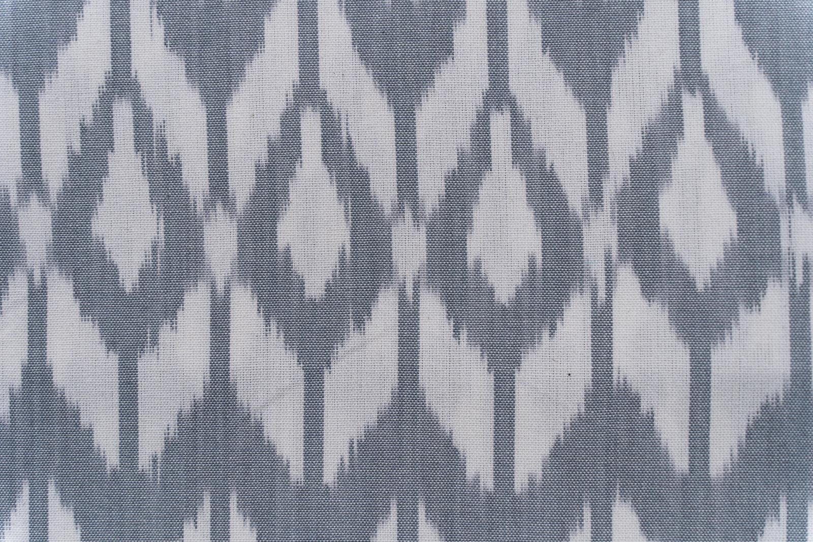 Grey And White Upholstery Ikat Cotton Fabric