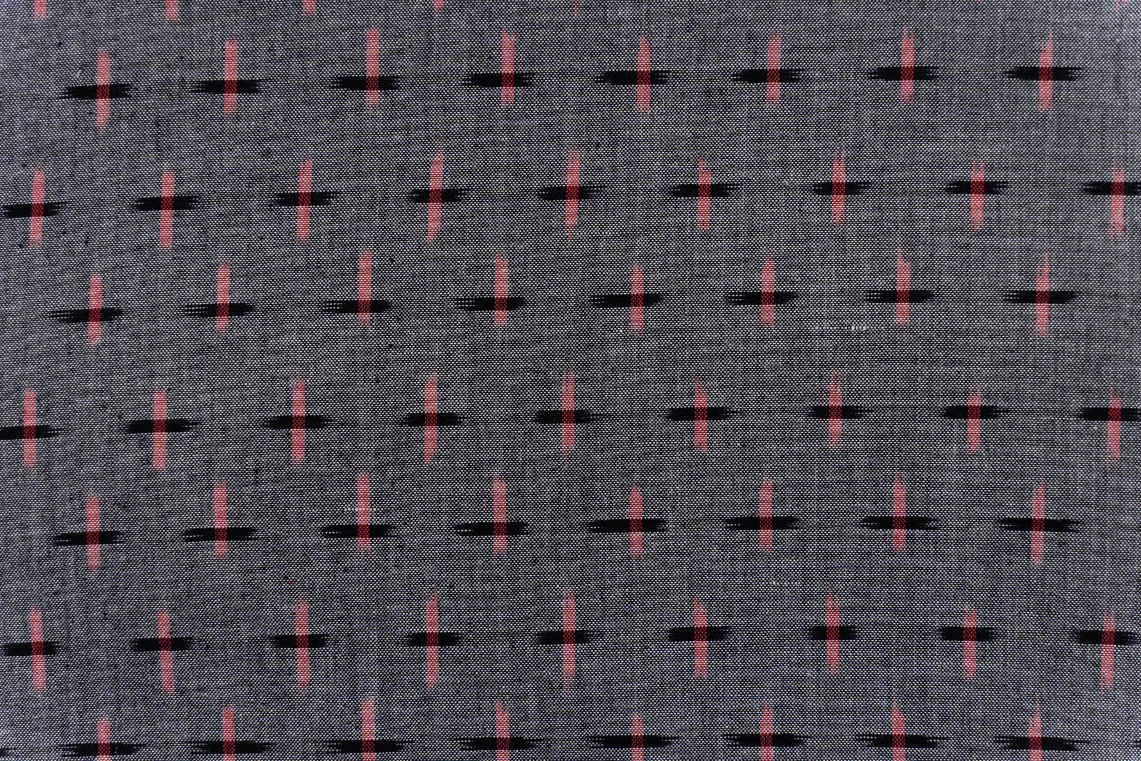 Grey Pink Ikat Cotton Fabric