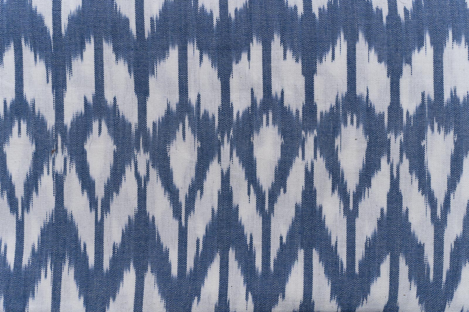 Blue And White Upholstery Ikat Cotton Fabric
