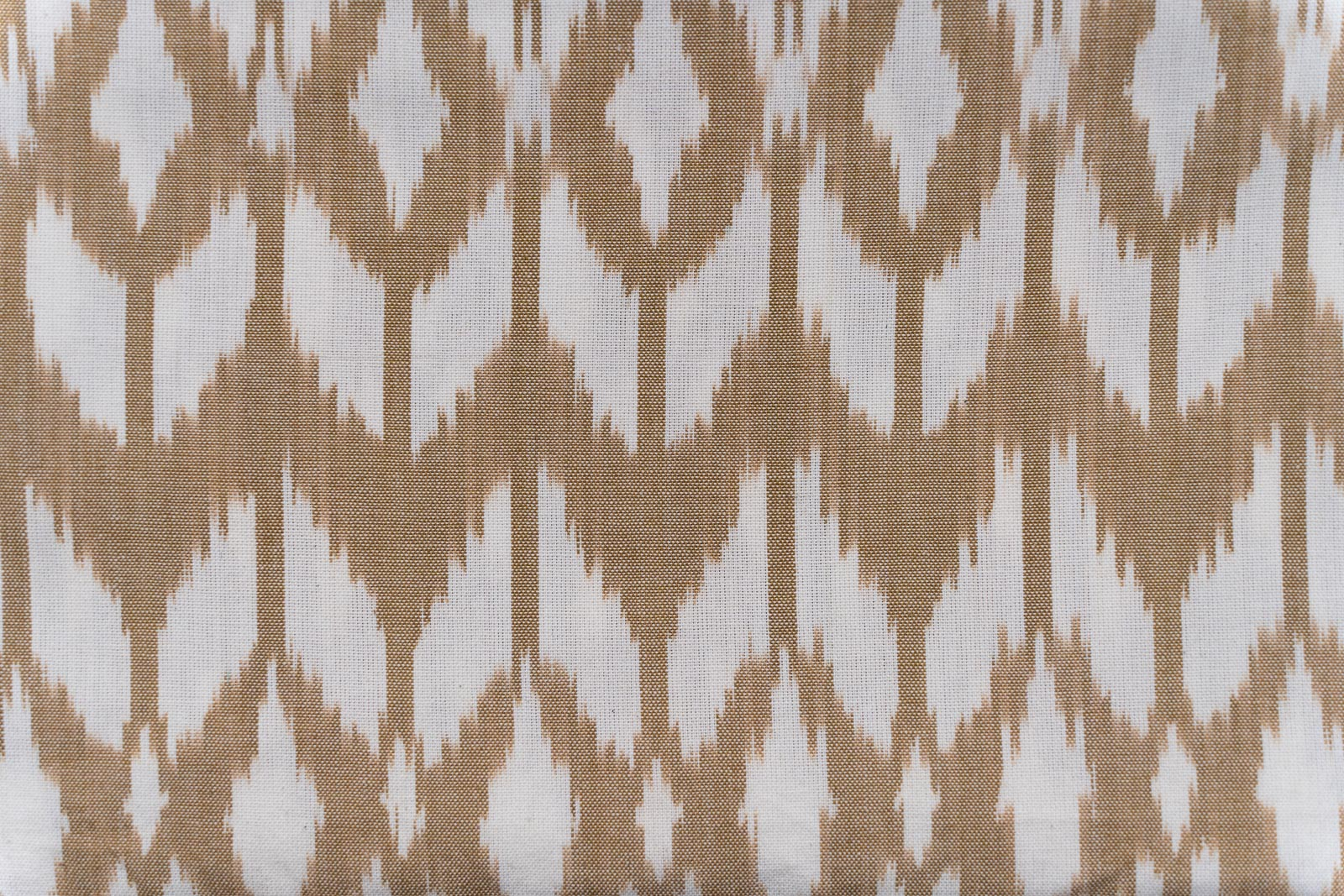 Brown And White Upholstery Ikat Cotton Fabric
