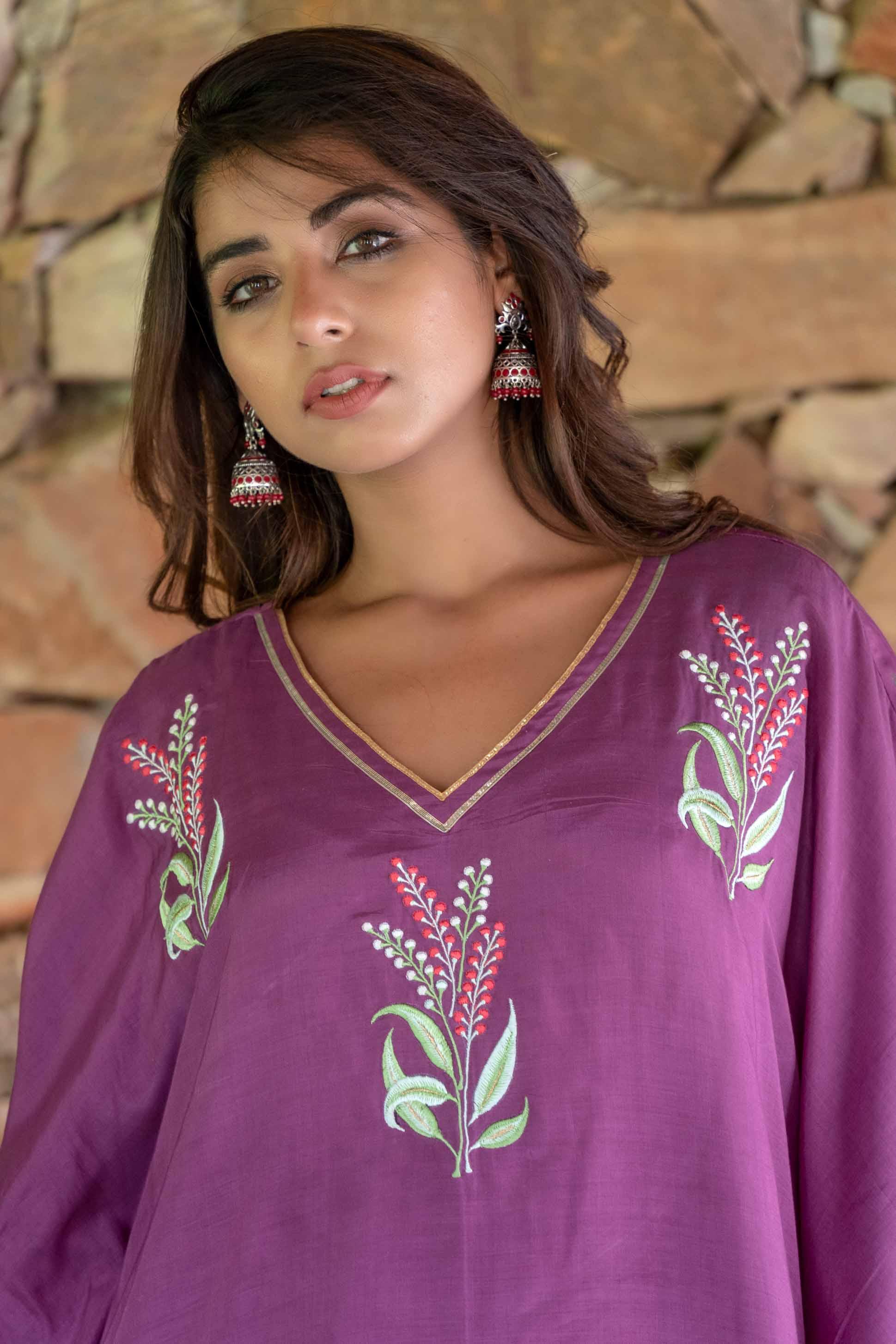 Quartz Purple Embroidered Muslin Silk Kaftan Dress Set
