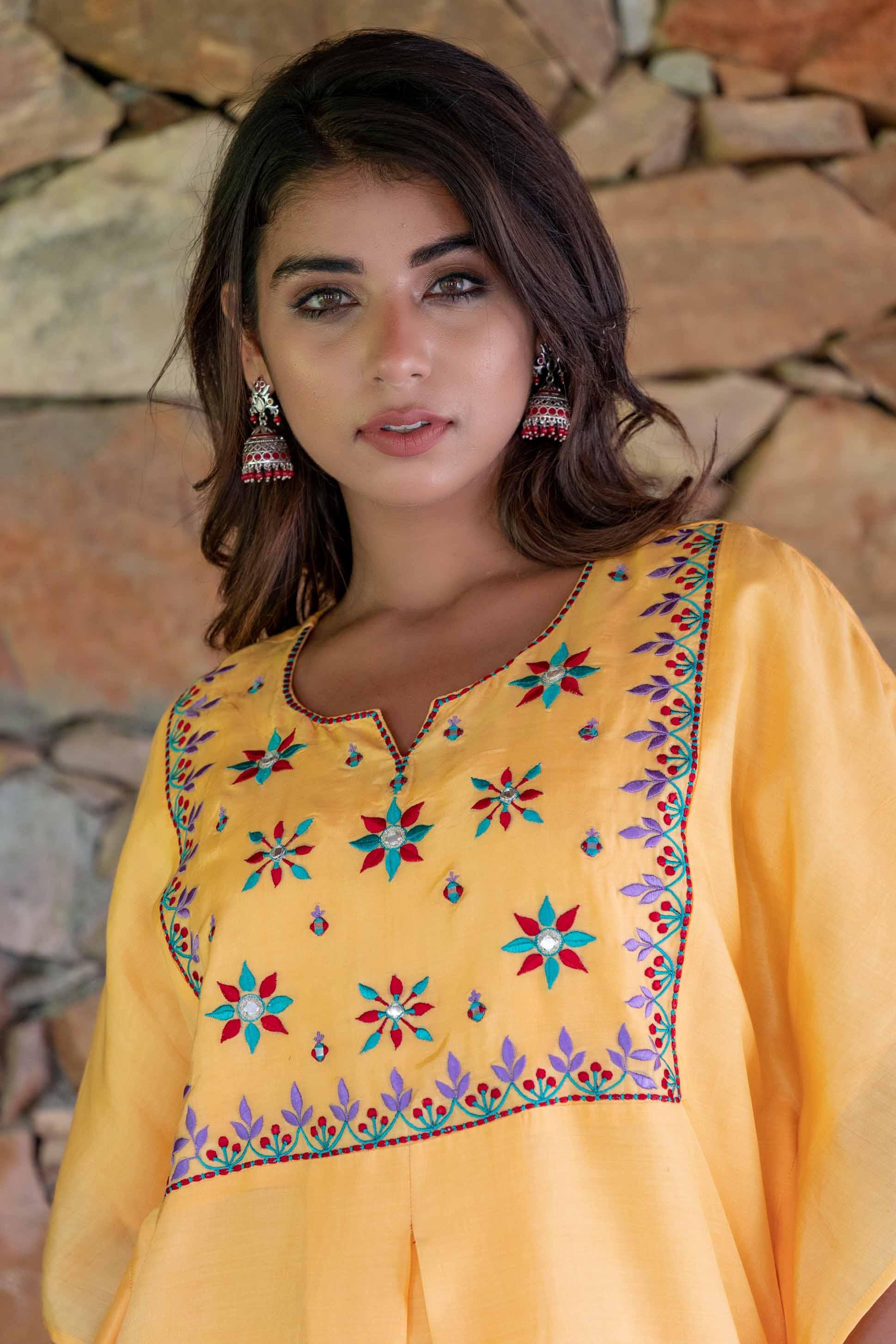Mango Yellow Embroidered Muslin Silk Kaftan Dress Set
