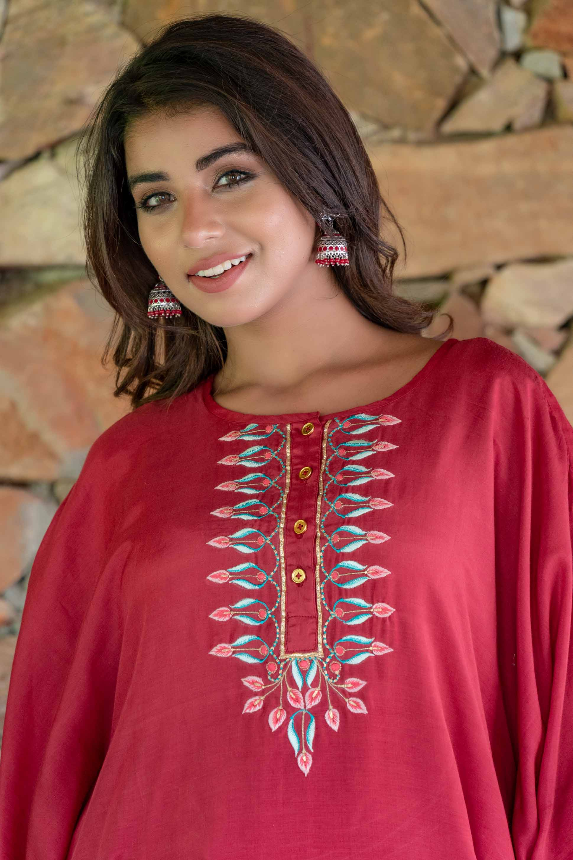 Cranberry Red Embroidered Muslin Silk Kaftan Only