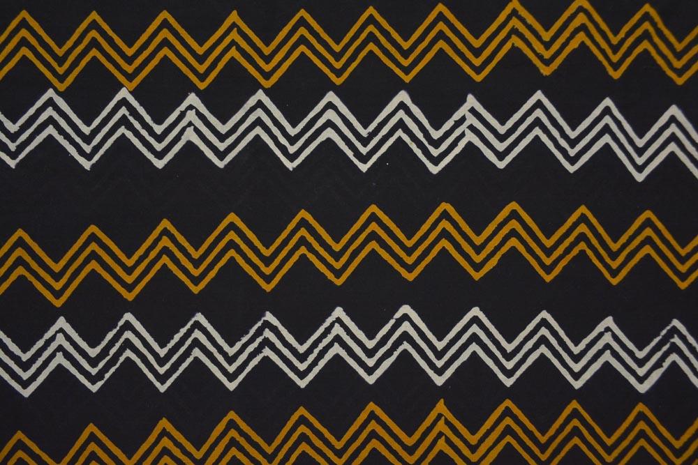 Tricolor Chevron Hand Block Printed Cotton Fabric