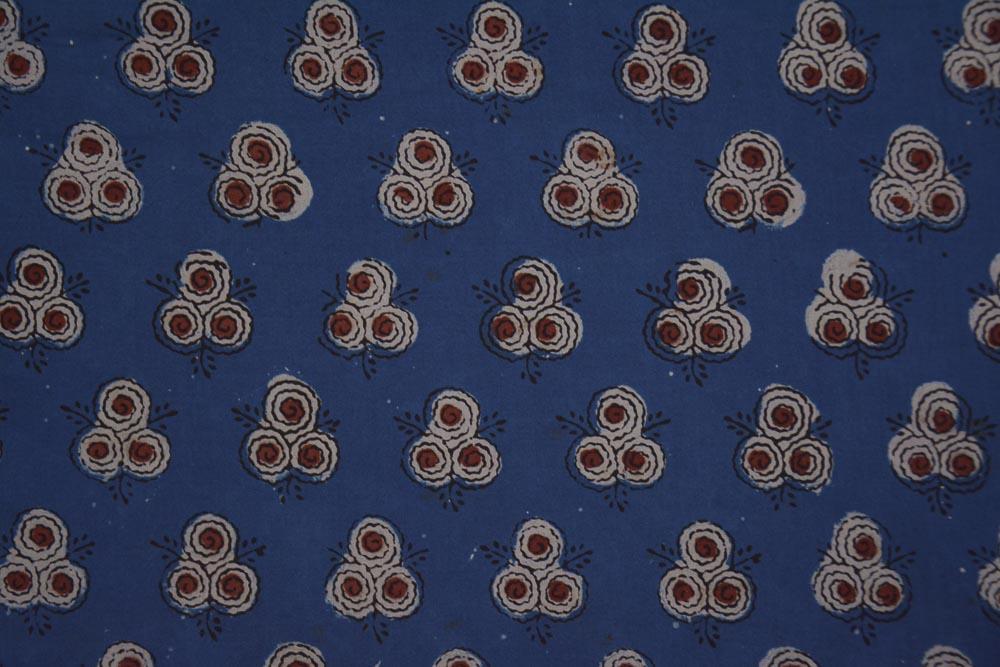 Indigo Floral Ajrakh Hand Block Print Cotton Fabric