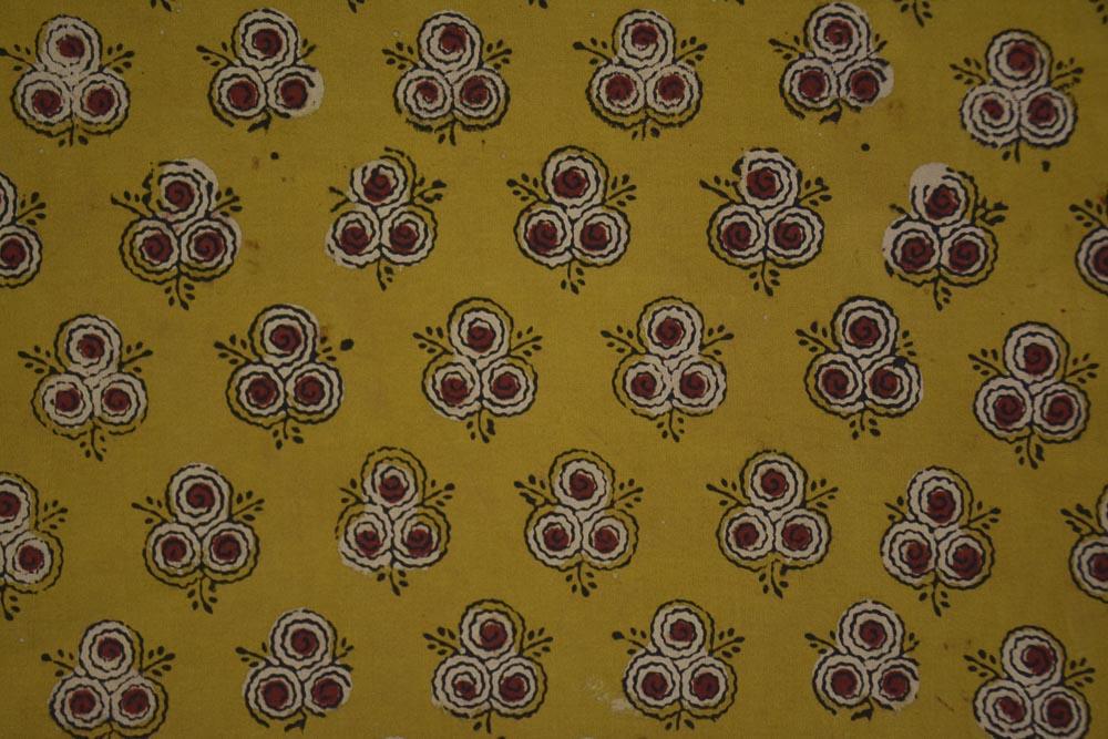 Mustard Floral Ajrakh Hand Block Print Cotton Fabric